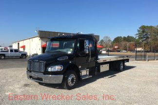2018 Freightliner Extended Cab Tow Truck with a Jerr Dan Aluminum Car Carrier Flatbed Rollback.