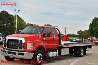 2019 Ford F650 Extended Cab, 6.7L PowerStroke Turbodiesel, TorqShift automatic, air brake, air ride, with 22ft Jerr-Dan NGAF6T-WLP Wide Aluminum Carrier, Stock Number F5567